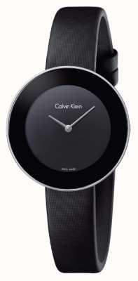 Calvin Klein Womans Chic Black Leather Strap Black Dial K7N23CB1