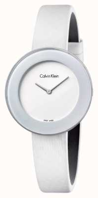 Calvin Klein Womans Chic White Leather Strap White Dial K7N23TK2