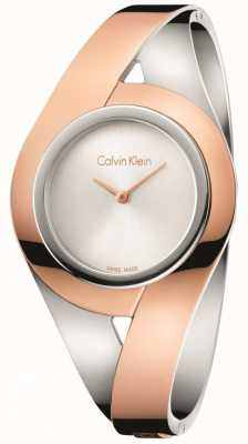 Calvin Klein Womans Sensual Two Tone Stainless Steel Bangle Silver Dial S K8E2S1Z6