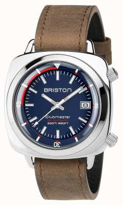 Briston Unisex Clubmaster Diver Brushed Steel Leather Auto Navy 17642.PS.D.15.LVBR