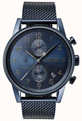Boss Mens Navigator Blue Chronograph Mesh Metal Watch 1513538
