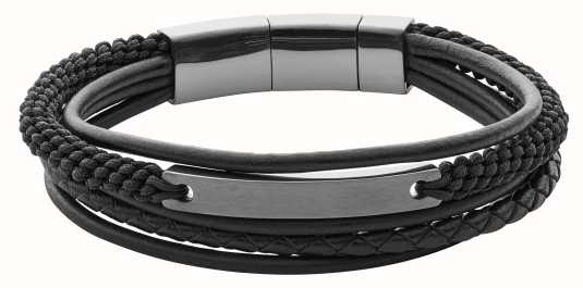 Fossil Mens Vintage Casual Black Layered Bracelet JF02378793
