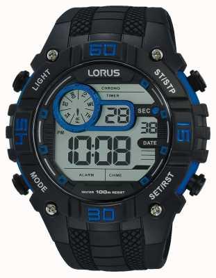 Lorus Mens Digital Watch Black And Blue R2353LX9