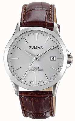 Pulsar Mens Brown Alligator Pattern Leather Strap PS9455X1