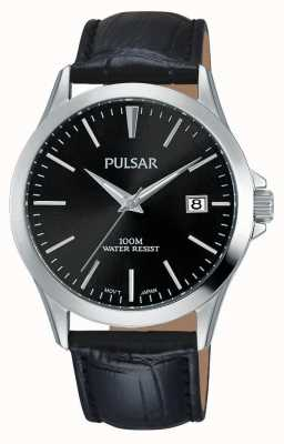 Pulsar Mens Black Alligator Pattern Leather Strap PS9457X1