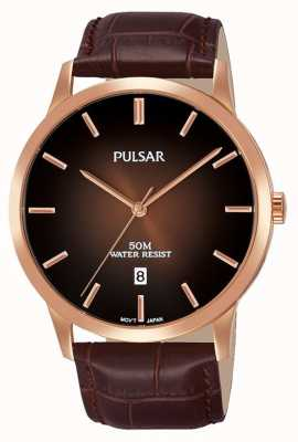 Pulsar Mens Brown Leather Strap Brown Gradation Dial PS9534X1