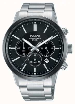 Pulsar Mens Stainless Steel Black Chronograph Dial PT3747X1