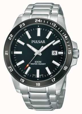 Pulsar Mens Stainless Steel Bracelet Black Dial PS9223X1
