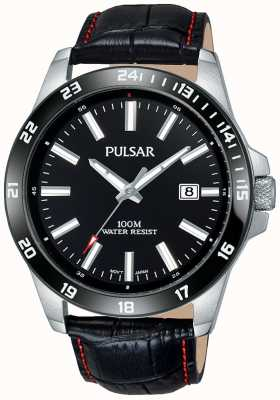 Pulsar Mens Black Leather Strap Black Dial PS9463X1