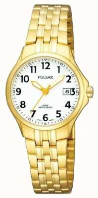 Pulsar Womans Gold Plated Stainless Steel Bracelet White Dial PH7224X1