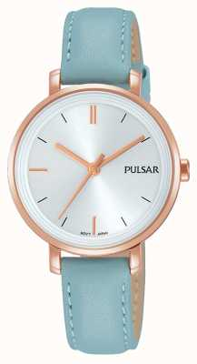 Pulsar Womans Pastel Blue Leather Strap Silver Dial PH8344X1