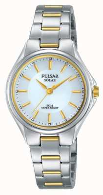 Pulsar Womans Two Tone Stainless Steel Bracelet Silver Dial PY5035X1