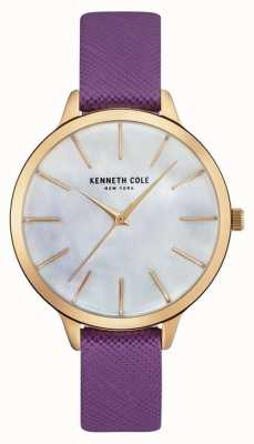 Kenneth Cole Womans Purple Leather Strap Mother Of Pearl Dial KC15056002