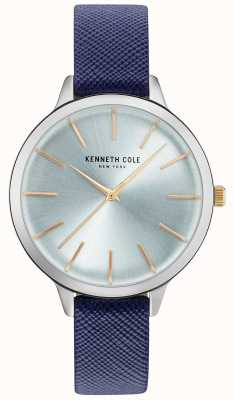 Kenneth Cole Womans Blue Leather Of Strap Mother Of Pearl Dial KC15056003