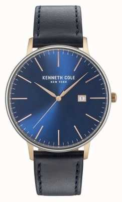 Kenneth Cole Mens Dark Blue Date Dial Black Leather Strap KC15059004