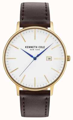 Kenneth Cole Mens White Date Dial Dark Brown Leather Strap KC15059005