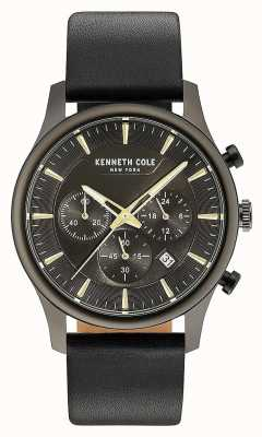 Kenneth Cole Mens Multifunction Black Dial Black Leather Strap KC15106004