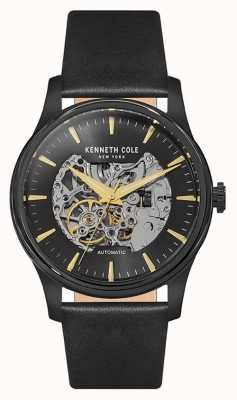Kenneth Cole Mens Automatic Skeleton Dial Black Leather Strap KC15110002