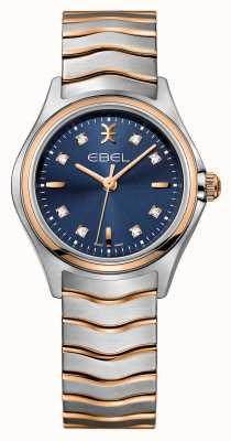 EBEL Wave Womens Diamond Set Two-tone Blue Dial Watch 1216379