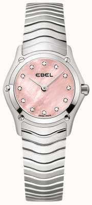 EBEL Womens Classic 12 Diamond Set Pink Dial Stainless Steel 1216279