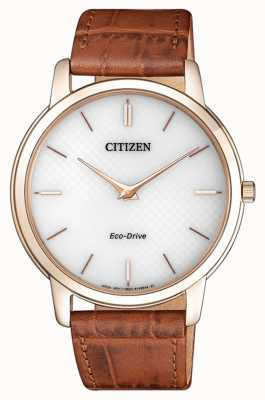 Citizen Mens Eco-drive Stiletto Ultra Thin Brown Leather Strap AR1133-15A