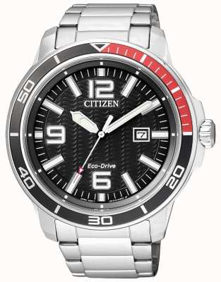 Citizen Mens Eco-drive Stainless Steel Black Dial AW1520-51E