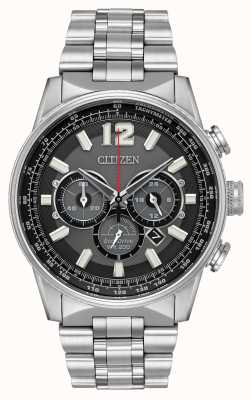 Citizen Mens Eco-drive Nighthawk Chronograph Stainless Steel CA4370-52E