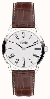 Michel Herbelin Mens Equinox Brown Strap Classic Dial Watch 19577/01GO
