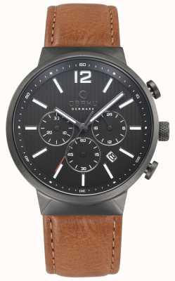 Obaku Mens Storm Brown Leather Watch V180GCUURZ