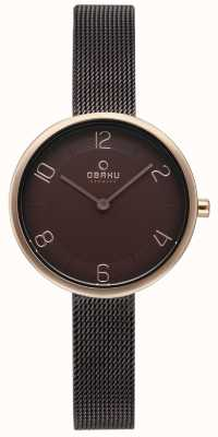 Obaku Womans Vand Walnut Mesh With Alternate Bracelet Set V195LXVNMN
