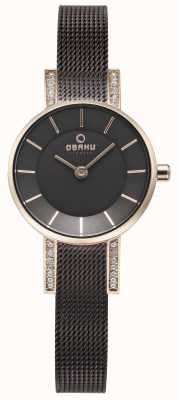 Obaku Womans LYKKE Walnut Mesh Watch V207LEVNMN