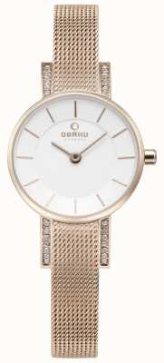 Obaku Womans LYKKE Rose Gold Mesh Watch V207LEVIMV