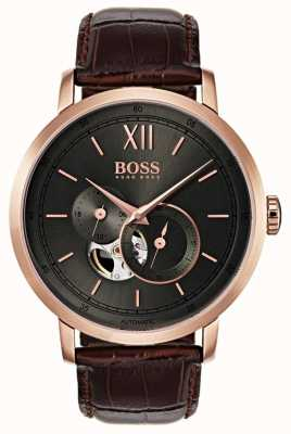 Boss Mens Signature Automatic Brown Leather Watch 1513506