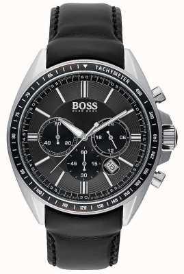 Hugo Boss Mens Driver Sport Black Leather Chronograph 1513085