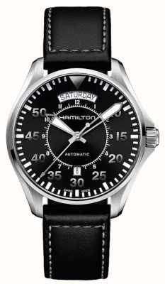 Hamilton Khaki Pilot Day Date Auto Black Leather H64615735