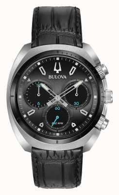Bulova | Curv | Mens | Chronograph | Black Leather Strap | 98A155