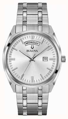 Bulova Mens Classic Stainless Steel Bracelet Silver Dial 96C127