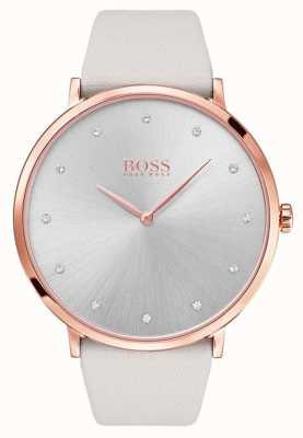 Boss Womans Jillian Rose Gold Tone Plated Case Grey Leather 1502412