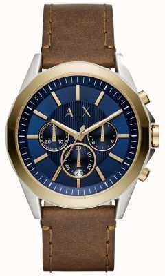 Armani Exchange Mens Blue Chronograph Brown Leather Strap AX2612