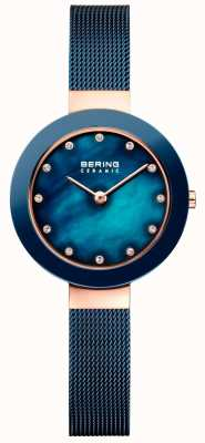 Bering Womans Ceramic Blue Milanese Strap 11429-367