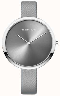 Bering Womans Classic Satin Leather Strap Sunray Dial Silver 12240-609