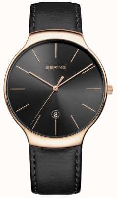 Bering Mens Classic Date Black Leather Strap 13338-462