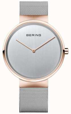 Bering Unisex Classic Silver Milanese Strap With Rose Gold Case 14539-060