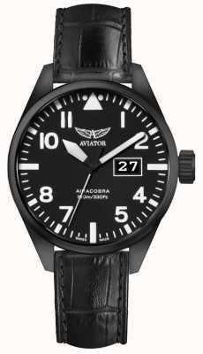Aviator Mens Airacobra P42 Black Leather Strap Black Dial V.1.22.5.148.4