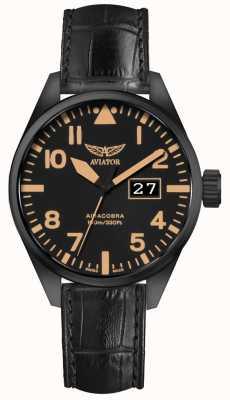 Aviator Mens Airacobra P42 Black Leather Strap Black Dial V.1.22.5.157.4
