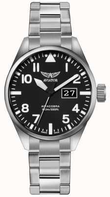 Aviator Mens Airacobra P42 Stainless Steel Steel Bracelet Black Dial V.1.22.0.148.5