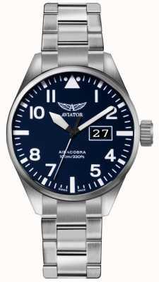 Aviator Mens Airacobra P42 Stainless Steel Steel Bracelet Blue Dial V.1.22.0.149.5