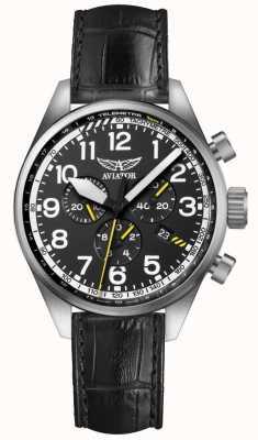 Aviator Mens Airacobra P45 Chrono Black Leather Strap Black Dial V.2.25.0.169.4
