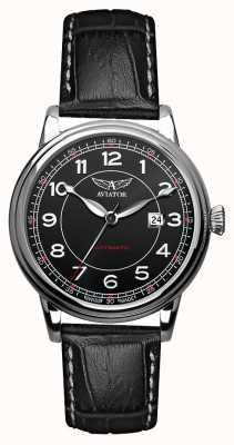 Aviator Mens Douglas Automatic Black Leather Strap Black Dial V.3.09.0.107.4