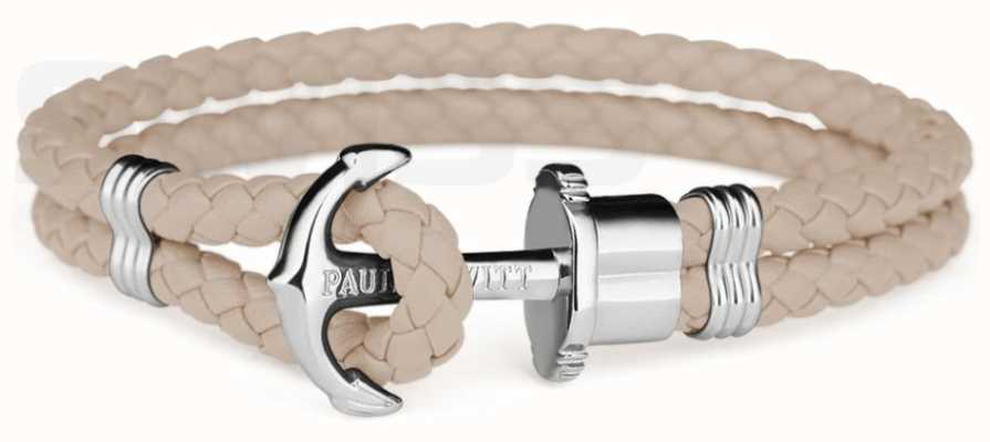 Paul Hewitt Jewellery Phrep Silver Anchor Hazlenut Leather Bracelet Large PH-PH-L-S-H-L